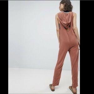 Free People Jumpsuit rusty Hooded Cut Out Back S